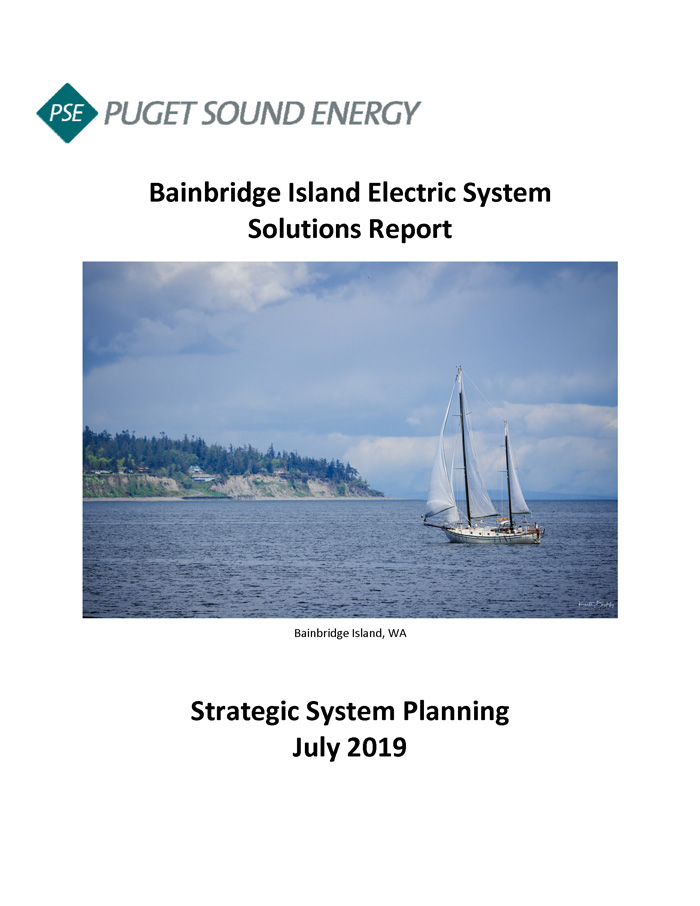 An image of the cover page for the Bainbridge Island Electric System Solutions Report developed by PSE.