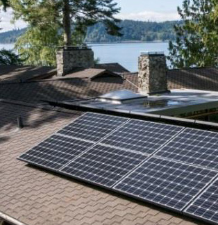 A solar array on the roof of a house on Bainbridge Island, overlooking Puget Sound.